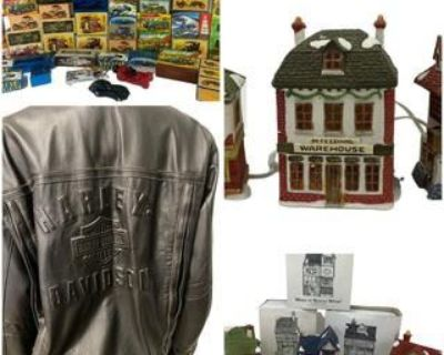 AVON COLOGNE, DEPT 56 DICKENS VILLAGE & HARLEY DAVIDSON MOTORCYCLE JACKETS AUCTION