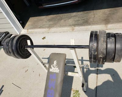 Weight bench, two bars, plus hand held weights