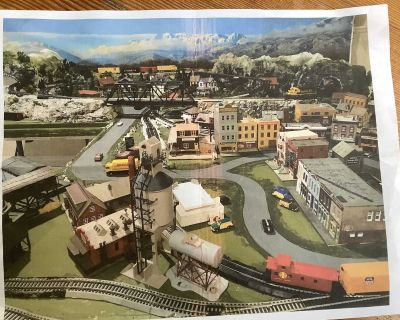 Railway Model complete with trains, buildings, accessories and more
