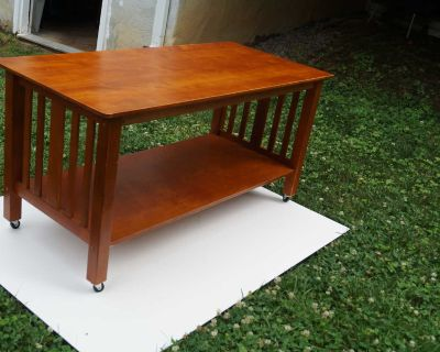 Two Tier Maple Coffee Table on Casters
