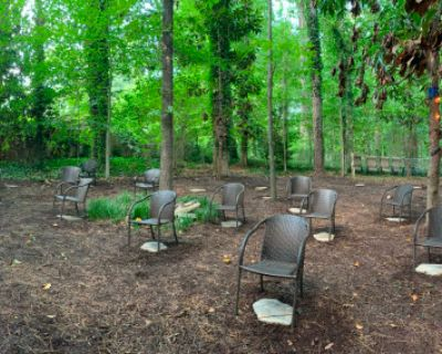 Outdoor Socially Distanced Meeting Event Space Fully Shaded in the Woods COVID Friendly, Brookhaven, GA
