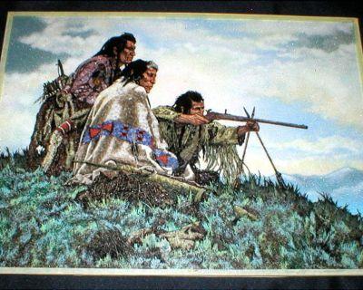 """Gem Stone Art - """"Indian Warriors"""" - Unframed"""