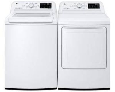 NEW LG TOP LOAD ELECTRIC WASHER DRYER SET IN WHITE. 90 DAY WARRANTY