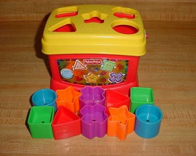 Barely Used Baby's First Fisher Price Brilliant Shape Sorter Bucket Toy. A Set Of 10 Colored Blocks To Sort, Stack & Drop. All Blocks Fit...