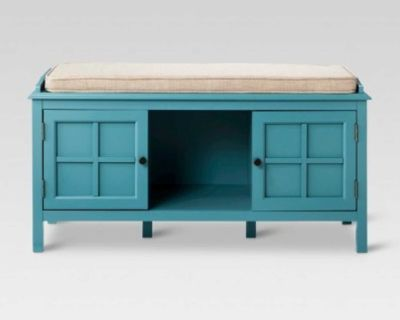 """NEW - IN-BOX - 42"""" TEAL WINDHAM ENTRYWAY STORAGE BENCH"""