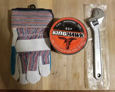 Gloves duct tape and crescent wrench