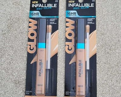 2 NEW L'Oreal Paris Infallible Pro-Glow Concealers
