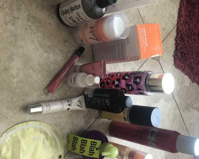 Lot of facial and hair products! Some used some brand new!