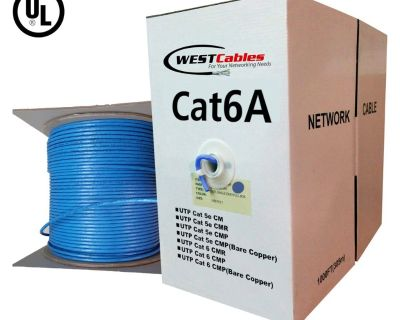 Cat6A Plenum 1000ft Solid Copper UTP Ethernet Cable