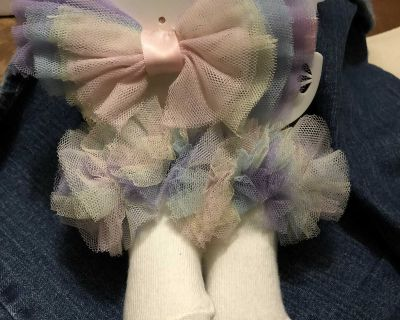 Pastel Tulle Trimmed Hair Bows & Matching Socks
