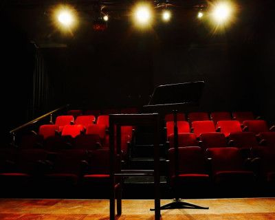 Intimate Black Box Theater with Plush Red Seats and Gorgeous Red Curtain, East Hollywood, CA