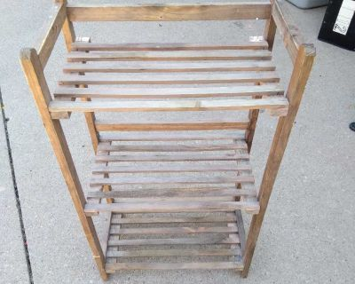 3 shelved wood Plant stand -indoor or outdoor