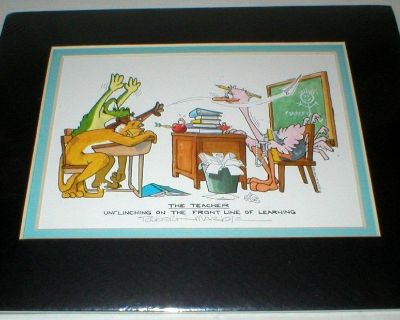 The Teacher Unflinching On The Front Line Of Learning - Vtg Robert Marble Cartoon Art Print - Signed