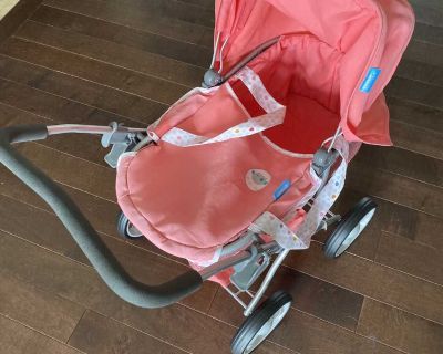 Doll stroller and highchair set