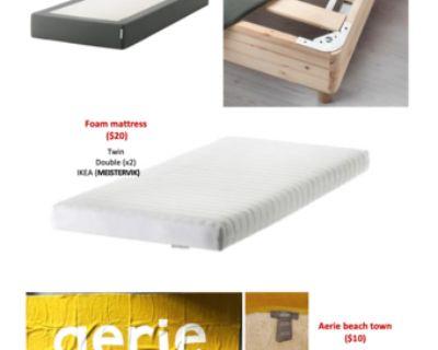 Bed mattress frame.Mattress.Beach towel