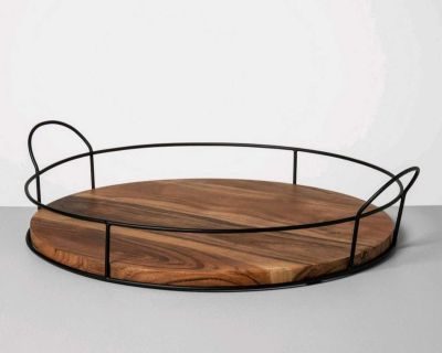 Metal and wood round tray