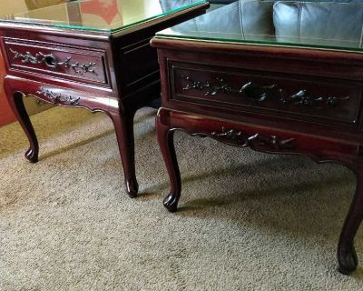 TWO END TABLES BROUGHT FROM OVERSEAS