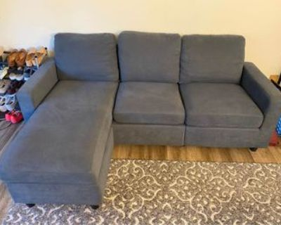 Dusty Blue-Grey Convertible Sectional for sale x2