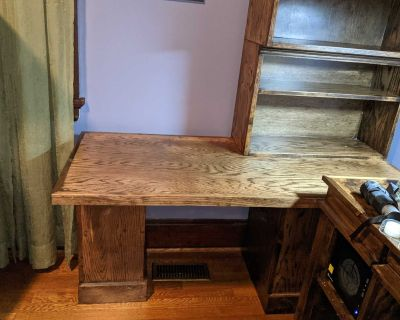 Handmade solid wood desk, craft table with detachable shelf