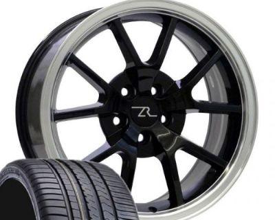 "18"" Black W Lip Mustang Fr500 Wheels Tires (4) 18x9 Rims 245/40/18 Winrun 94-04"
