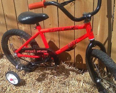 BMX - Street Demon- with training wheels Bicycle ( kids ages thru 6 yr old)