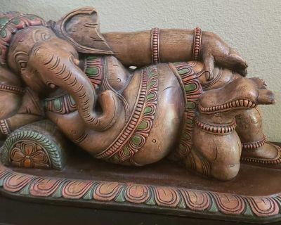 Large Wooden Reclining Ganesh Statue