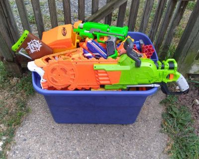 Large bin of NERF GUNS $50 FIRM come pick up at yard sale