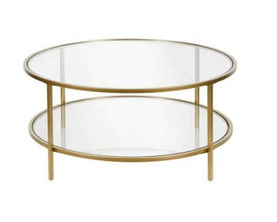 Gold Finish Glass Coffee Table with Shelves