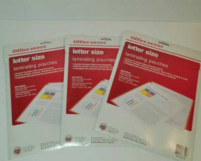 Office Depot Laminating Pouches - 3Mil (9in x 11 1/2in) 3 pack of 25 Pouches NEW