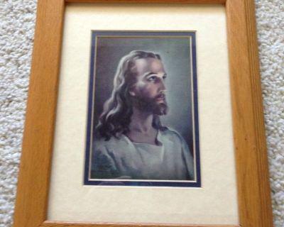 Jesus Christ Photo - 1940 Printed Signature Copyright 1941-1988 - Framed