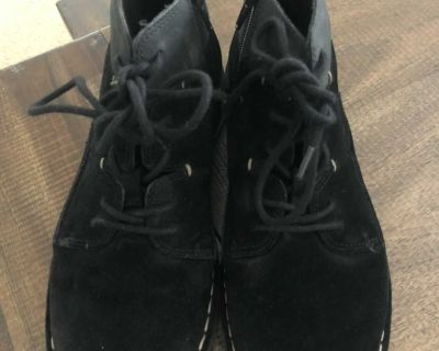 Clark s brand suede boots with zip and ties, size 6