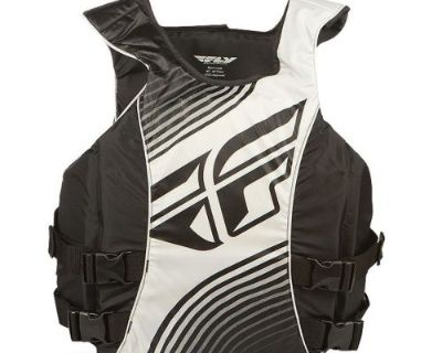 """Fly Racing Pullover Nylon Boat Vest Black White Adult Medium 36"""" To 40"""" Chest"""