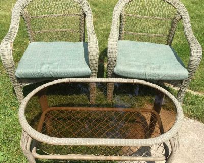 Wicker chairs and table set
