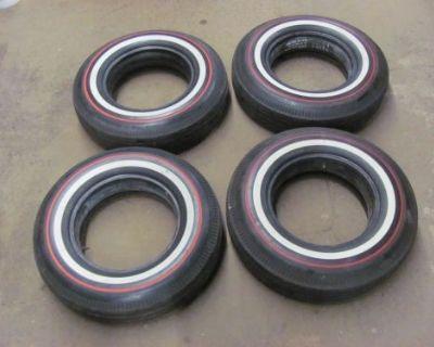 Set Of Bf Goodrich 8.15-15 Bias Ply Tires Red White Dual Stripe