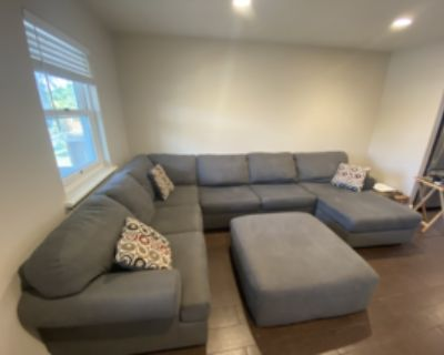 Grey Right-Arm Facing U-Shaped Couch with Ottoman