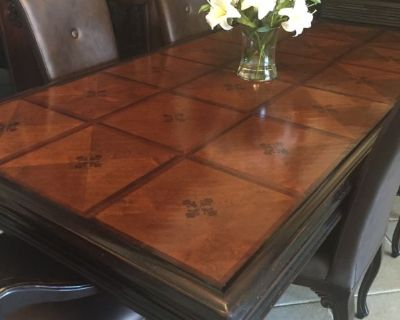 Beautiful wood inlay dining table