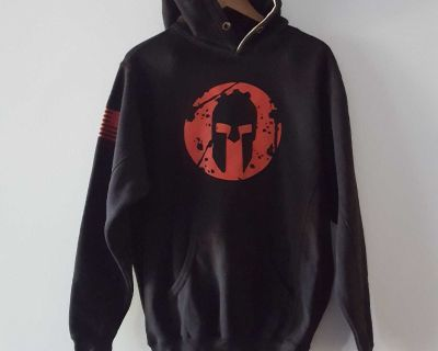 Spartan Race Heavy Black and Red Hooded Pullover Sweatshirt Size Medium