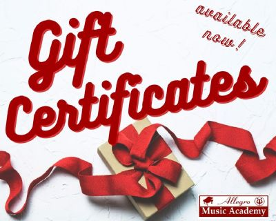 Allegro Music Academy Holiday Gift Certificates