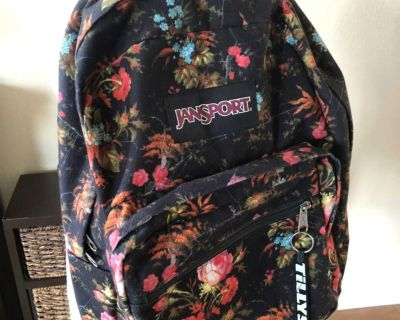 Gorgeous Floral Jansport Backpack! Great Condition! Slight wear on bottom leather section.