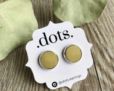 Dots Genuine Leather Chartreuse Studs