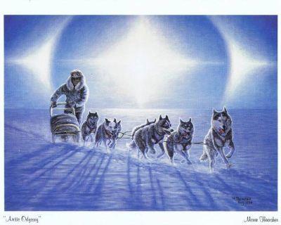 """Arctic Odyssey"" Art Print - Dogsled Team - Mona Thrasher, Artist - 1990"