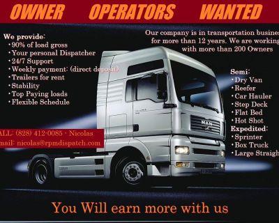 OWNER OPERATORS EARN 90% LOAD GROSS!!! No hidden fees