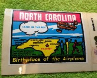 vintage travel decal north carolina Airplane birth