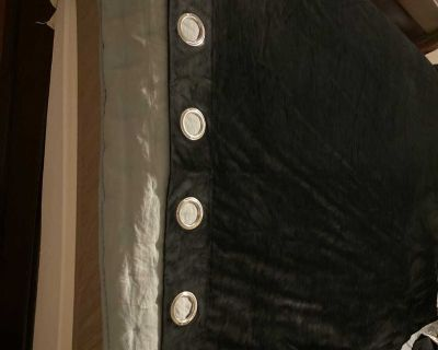 Black velvet curtain pair