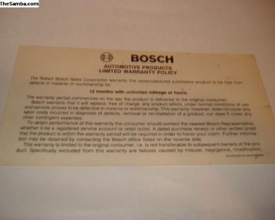 Rare Bosch Warranty Policy Card From Owners Manual