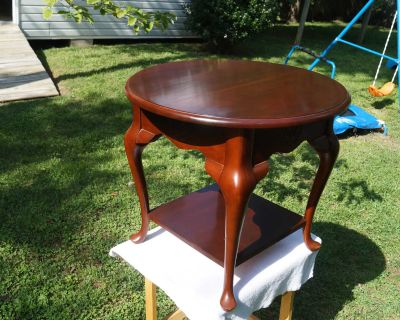 Two-Tier Cherry Circular Side Table - Solid Wood