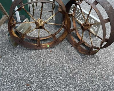 Antique wheels great for landscaping $50 each