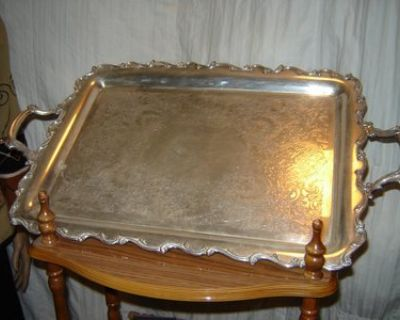 Silver Serving Tray Heavy w/Handles