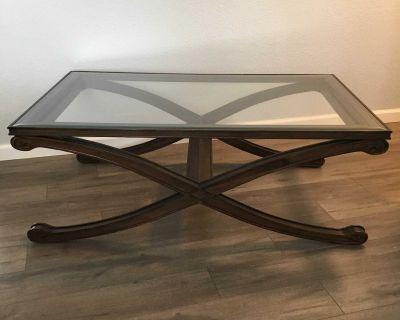Coffee / Cocktail Table Wood Beveled Glass