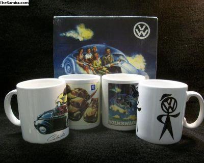 Vintage Ceramic Mugs with VW Advertising